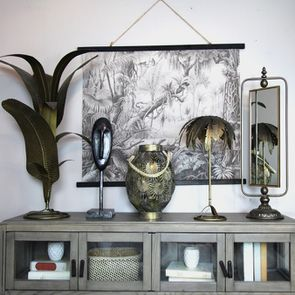 Toile décorative inspiration jungle en lin 100x75