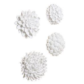 Set de fleurs murales blanches