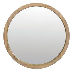 Grand miroir en bois et or rond