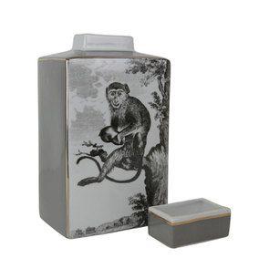 Pot en porcelaine motif singe - Visuel n°4