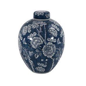 Pot en porcelaine motifs végétaux - Visuel n°1