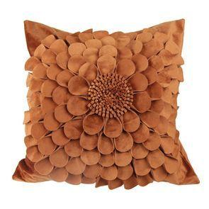 Housse de coussin fleur orange 45x45