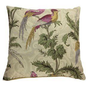 Housse de coussin oiseaux et fleurs 45x45