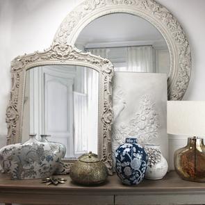 Miroir rectangulaire baroque blanc