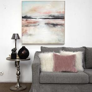 Toile abstraite rose et gris