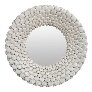 Miroir rond avec pétales blancs