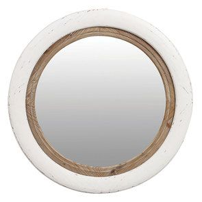 Miroir rond blanc et bois - Visuel n°1