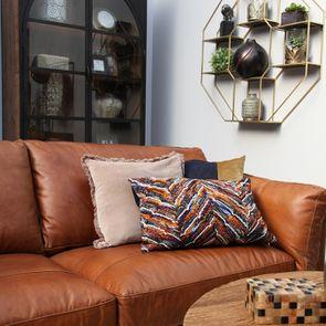 Housse de coussin bicolore bleue et velours brun