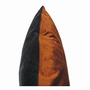 Housse de coussin carrée bleu gris et orange - Visuel n°8