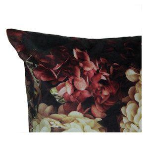 Housse de coussin effet velours imprimé floral en clair/obscur - Visuel n°6