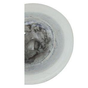 Vase en verre soufflé rond gris et blanc