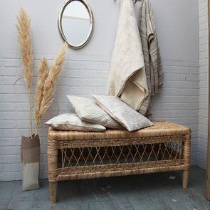 Housse de coussin blanche coton et lin effet satiné - Visuel n°3