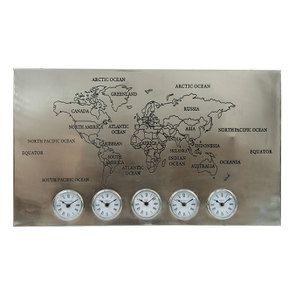 Horloge fuseaux horaires en étain