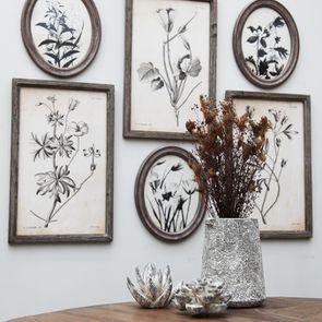 Tableau floral façon planche botanique 55 cm x 35 cm