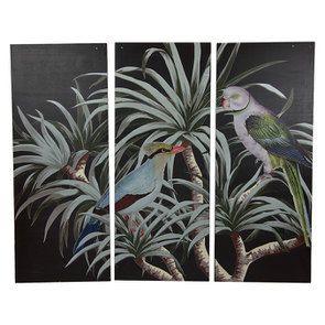 Triptyque en bois motif oiseaux