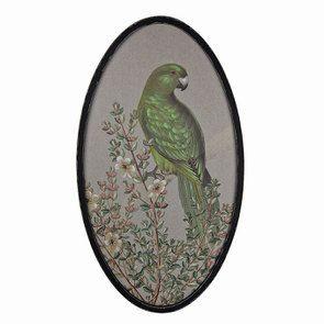 Tableau ovale perruche sur toile de lin - Visuel n°1