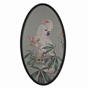 Tableau ovale toile de lin motif oiseau