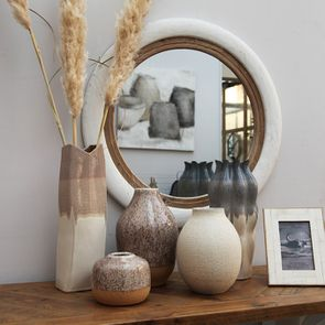 Vase décoratif bi-matière en céramique