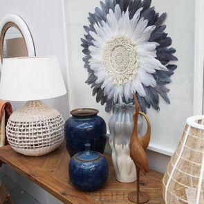 Pot décoratif bleu en céramique à motif