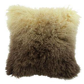 Housse de coussin en laine d'agneau à poils longs beige et marron