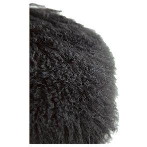 Housse de coussin ronde en laine d'agneau à poils longs