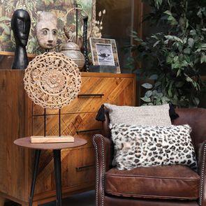 Housse de coussin en laine de chèvre motif léopard