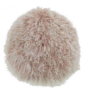 Housse de coussin en laine d'agneau à poils longs rose clair