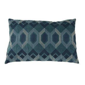 Housse de coussin à motifs géométriques bleus