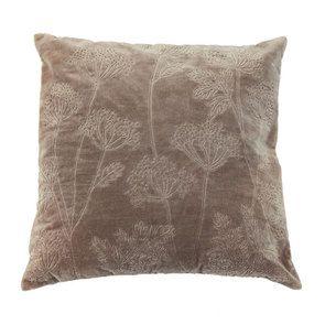 Housse de coussin effet velours motif floral beige