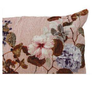 Housse de coussin effet velours rose côtelé impression fleurs