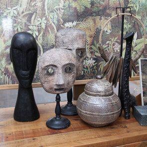 Statue visage en bois
