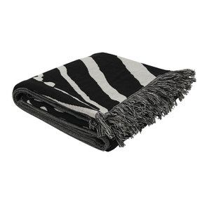 Plaid en coton tissé noir et blanc 130X180 - Visuel n°4