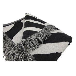 Plaid en coton tissé noir et blanc 130X180 - Visuel n°5