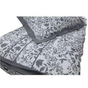 Housse de couette 220x240 et 2 taies 60x60 en tissu gris et motif floral réversible - Visuel n°3