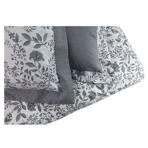Housse de couette 220x240 et 2 taies 60x60 en tissu gris et motif floral réversible - Visuel n°5