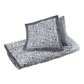 Housse de couette 220x240 et 2 taies 60x60 en tissu gris et motif floral réversible