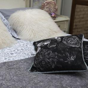 Housse de couette 240x260 et 2 taies 60x60 en tissu réversible gris et motif floral