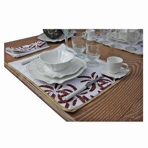 Lot de 2 sets de table blanc et doré à motif plume