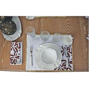 Lot de 2 sets de table blanc et doré à motif plume - Visuel n°3