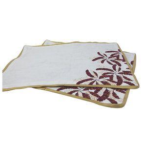 Lot de 2 sets de table blanc et doré à motif plume - Visuel n°5