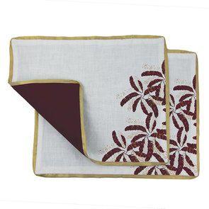Lot de 2 sets de table blanc et doré à motif plume - Visuel n°6