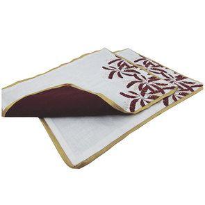 Lot de 2 sets de table blanc et doré à motif plume - Visuel n°7