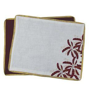 Lot de 2 sets de table blanc et doré à motif plume - Visuel n°8