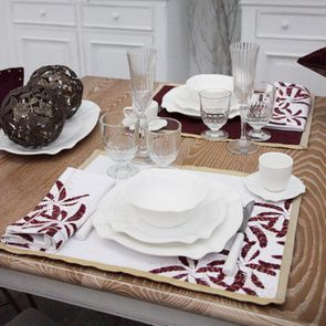 Lot de serviettes de table blanche et plumes rouges