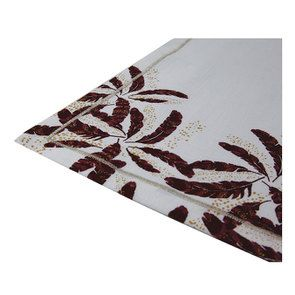 Lot de serviettes de table blanche et plumes rouges