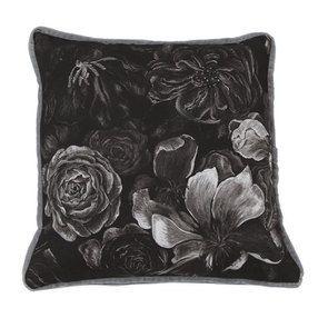Housse de coussin effet velours motif fleurs noir et blanc