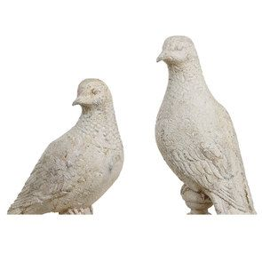 Duo de statues d'oiseaux