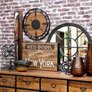 Horloge en bois et métal