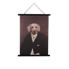 Toile décorative en lin motif chien
