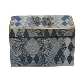 Boîte en porcelaine bleue à motifs